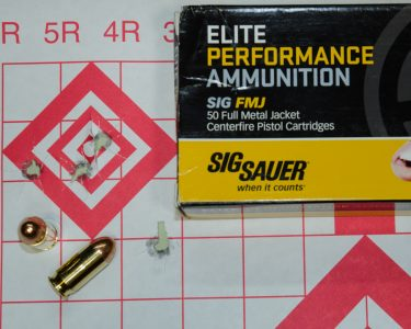 The only FMJ tested from the bag, the SIG Elite Performance did very well.