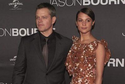 "Matt Damon and Alicia Vikander at the premiere of ""Jason Bourne"" at Moore Park, Sydney, on July 3. (Photo: SMH)"