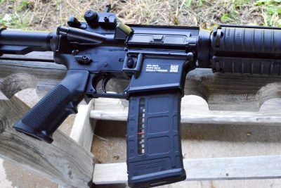 Apart from being semi-auto and having a permanently attached muzzle device, this M4 is hard to distinguish from a true military carbine.