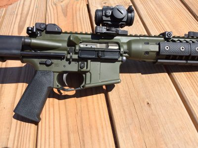 The IC-PDW has an ambidextrous bolt release lever located just behind the ejection port/dustcover area.