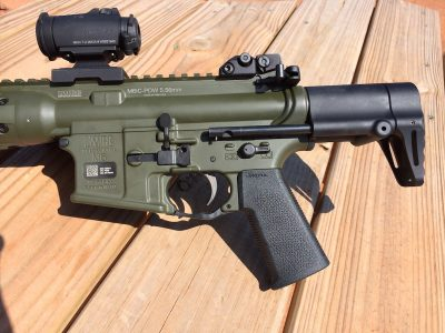 The controls of the IC-PDW will be familiar to those who have run AR-based firearms. Note the ambi mag release.