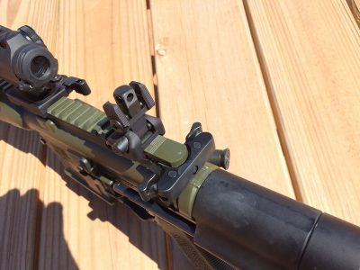 """The IC-PDW came with the company's """"Skirmish"""" rear sight unit."""