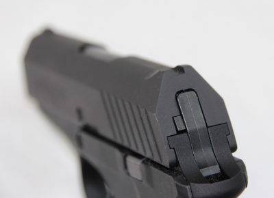 The sights of the pistol are integrally machined into the slide and are very low profile.