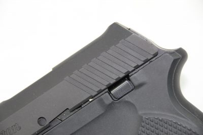 A small but usable slide stop/release lever is located on the left side of the pistol.