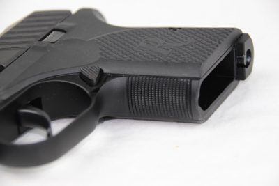 The front strap of the pistols features checkering for an enhanced hold.