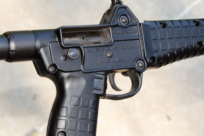 The heart of the SUB-2000 is its simple, straight-blowback system of operation. Magazines fit into the pistol grip.