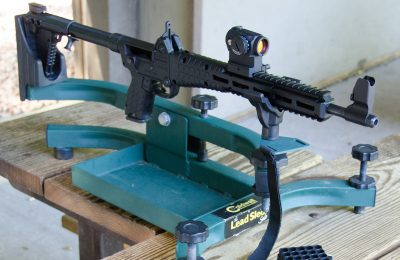 The author set up at the range for testing with the Kel-Tec SUB-2000 GenII from the bench.