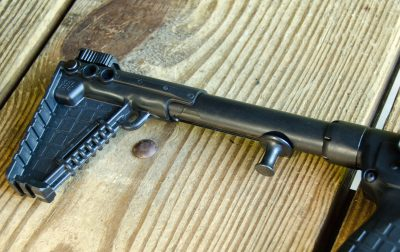 The carbine buttstock's length of pull has three adjustments.