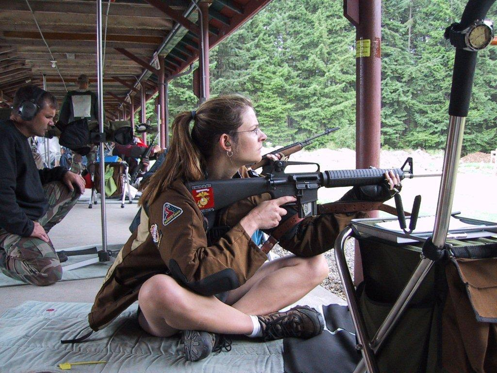 Seated position at 200 yards can vary from person to person, but with good technique, the shooter can be locked in solid. Notice the shooter's elbows are inside the knee on either side - on the flat spot just inside the knee and at the top of the shin.