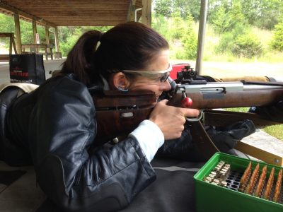 Anette Wachter, member of the US Palma Team, shooting prone.