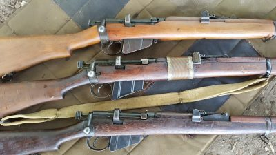 These are my three Lee Enfield rifles. They are also known as the SMLE, and this specific configuration is called the Mk III, or No. 1 Mk III.