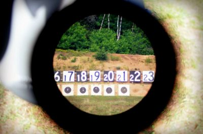 View through a spotting scope at the targets in a Palma Rifle match during Midwest Long Range Championship, 2014.