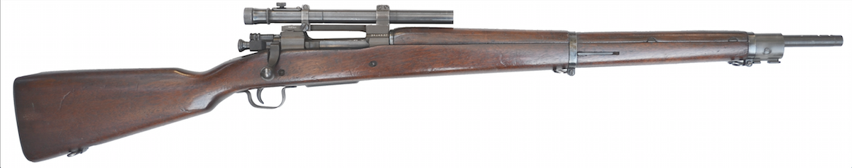 The Model 1903A4 was the first issued sniper rifle to all U.S. military services during World War II. It had a 2.75X M73B1 Telescopic Sight and fired the powerful .30-06 cartridge.