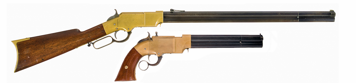 """Inspired by a French rifle design, essentially a gallery gun used for indoor target shooting that fired a small metallic cartridge, Daniel Wesson and Horace Smith devised a """"saloon pistol"""" c.1855 using a design that allowed multiple shots and the chambering of rounds using a ring lever (toggle link) action similar to the Smith-Jennings rifle, which Smith had perfected. The end result was the Volcanic repeating pistol and rifle, the forerunner of the Henry Rifle that B. Tyler Henry would design in 1860. The similarity between the Volcanic frame and barrel with that of the Henry rifle are unmistakable. (Photos courtesy Rock Island Auction Co.)"""
