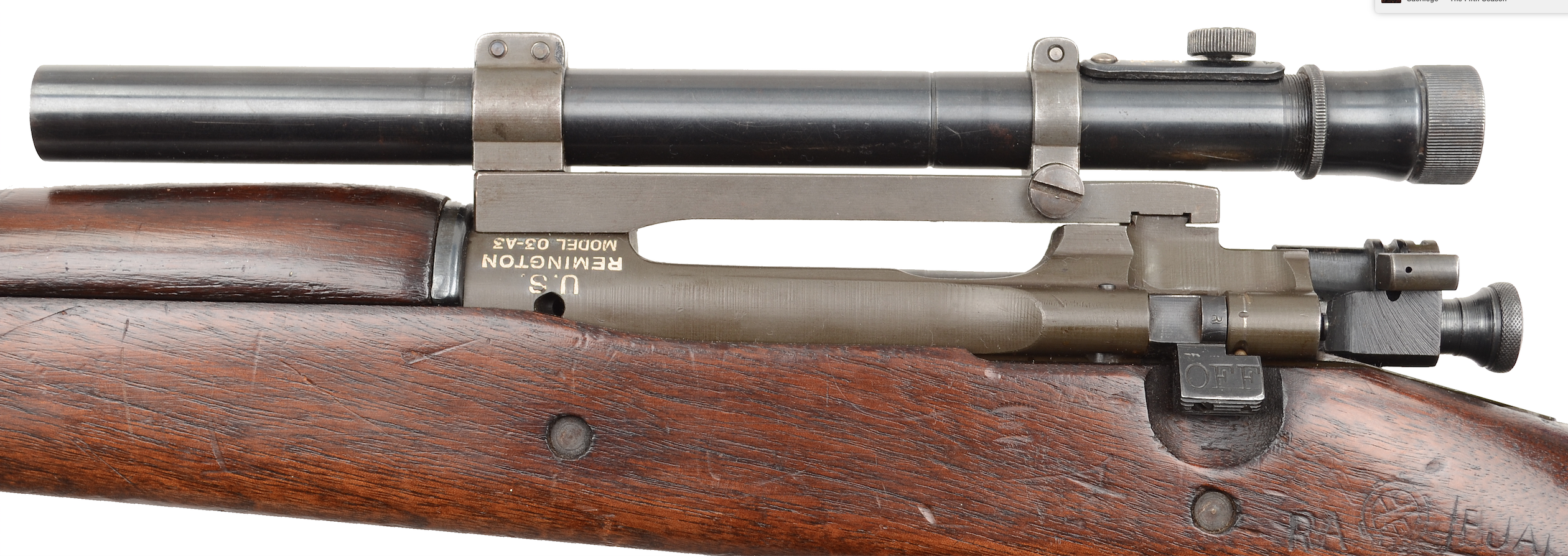 The M73 Telescopic Sight was adjustable for windage and elevation with cylindrical click-stop knobs.