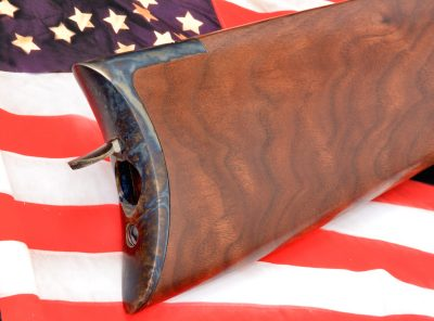 Like the original, the new Henry Iron Frame has a storage compartment in the buttstock for a cleaning rod. Early Henrys had a two-piece hardwood rod with ferrules threaded at both ends.