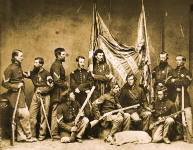 One of the most famous Civil War photographs showing the Henry Rifle was this shot taken by Mathew Brady of the color bearers and color guard from the 7th Illinois Volunteer Infantry. Image courtesy R.L. Wilson, from his book Winchester An American Legend.