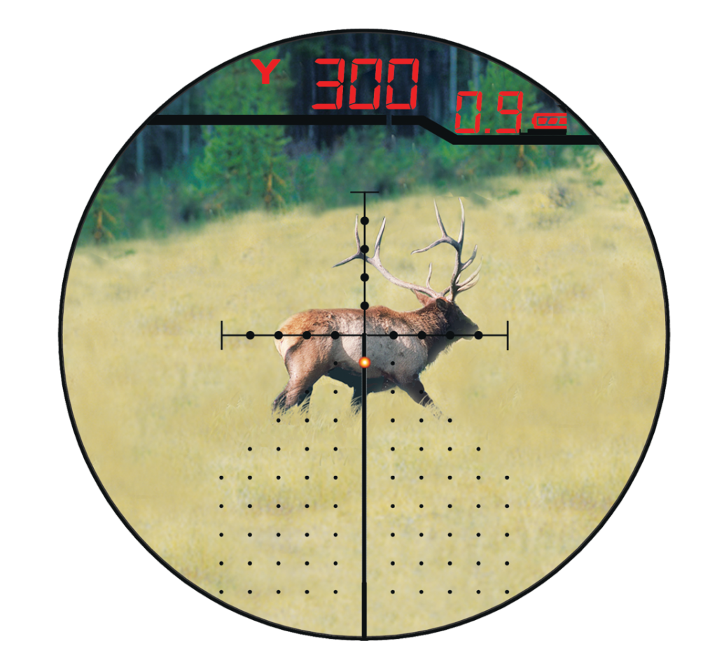 Not only does the X96 reticle show you range and windage information, it lights up the correct hold point for your target.