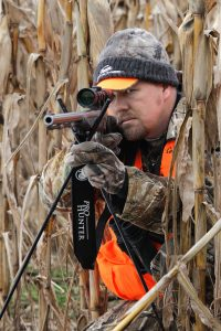 Deer will walk the rows of standing corn where available. Hunters can use the tall stalks as a natural blind to get close and intercept whitetails.