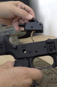 The BFS is designed to drop in to any standard AR-15 lower. There are two rings on the lower face of the trigger housing that can interface with included shims for precise fitting.