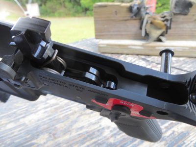 Once installed, the BFS is ready for use in your AR-15 rifle. Note the selector label on the left side of the lower.