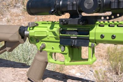 The controls of the Grunt are standard configuration, despite the radical appearance of the rifle.