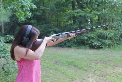 The author found that the 12-gauge Ethos was light enough recoiling that young shooters could use it.