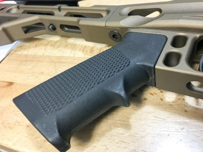 The use of a standard AR-15 grip means you can easily swap for an aftermarket model of your choice.