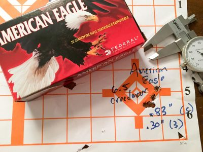 American Eagle did just fine too, putting three shots into just under one-third of an inch.