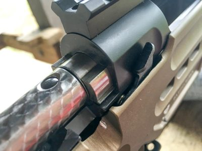The bolt release lever is on the right side of the receiver.