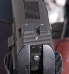 The rear sight of the pistol had a ledge and single tritium dot.