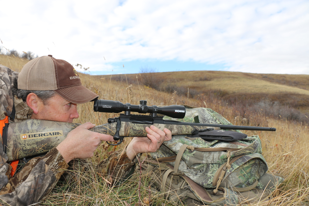Hunting deer in Montana with Chad Schearer of Bergara Rifles, the author made use of his pack as a makeshift rest.