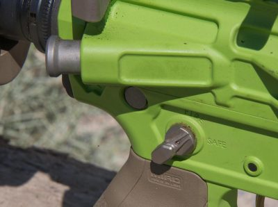 An AXTS titanium ambidextrous safety was used on the Grunt rifle.