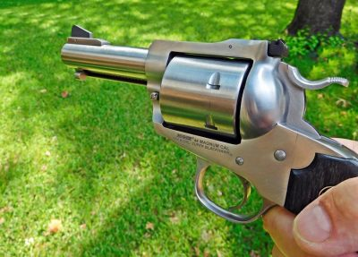 The unfluted cylinder and short 3.75-inch barrel make this Ruger a real eye-catcher.