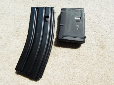 A 30-round metal magazine comes with the gun. This Magpul 10-rounder also worked well as did a Bushmaster mag.