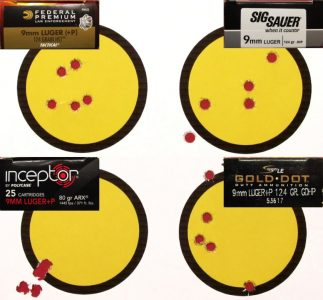 Shooting from a braced off-hand position, 10 yard groups averaged 1.95 inches for the four loads tested. The light-weight Polycase ARX was a stand out with a sub one inch group.