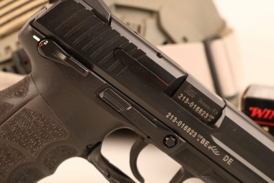 All of the P30L pistol's controls are perfectly replicated on both sides of the gun. Note the frame-mounted safety.