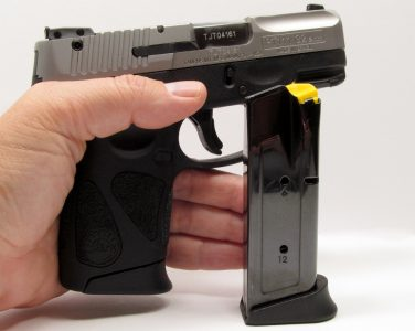 Taurus includes two magazines with the PT 111. Both have extended baseplates that allowed the author to get all three fingers comfortably on the grip.