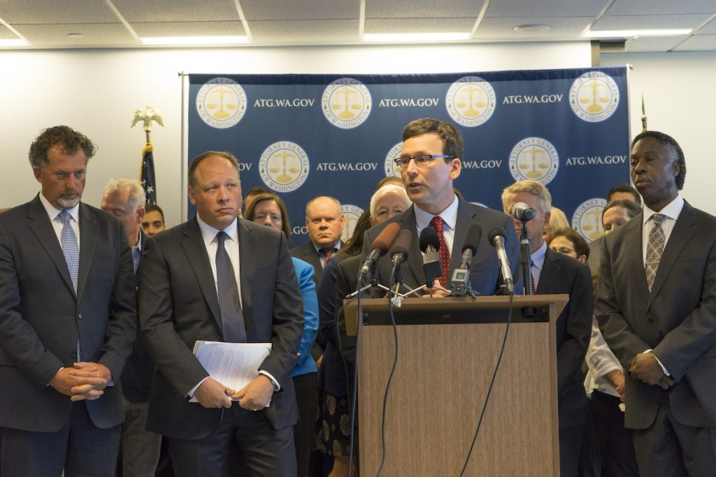 """Washington Attorney General Bob Ferguson announcing his intent to ban """"assault weapons"""" and """"high-capacity magazines."""" (Photo: atg.wa.gov)"""