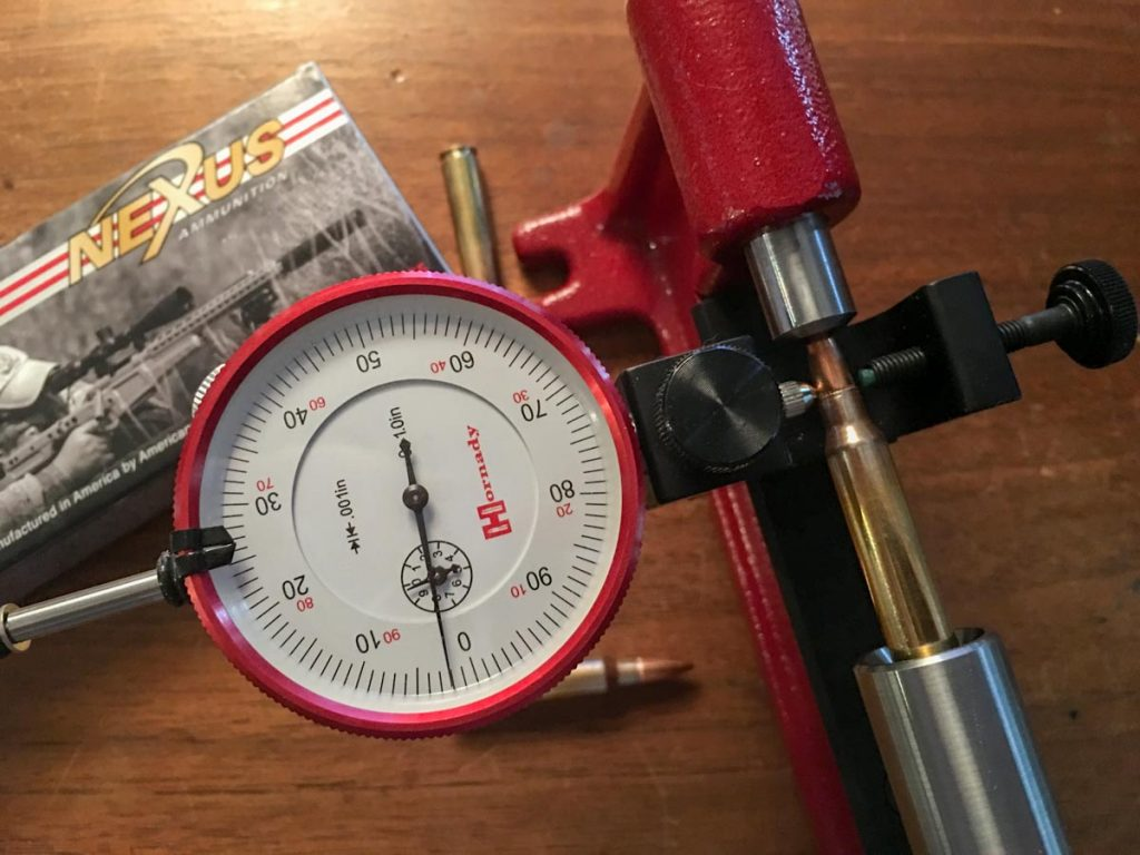 I sampled randomly selected cartridges from the Nexus match ammo and tested bullet runout using this Hornady Concentricity Gauge. No rounds showed more than 2/1,000ths off center. That's excellent.
