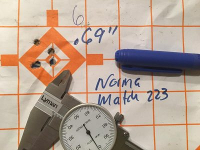 The best five-shot group using the Norma Match-223 77-grain ammo measured just .69 inches from 100 yards.