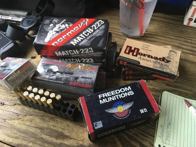 For accuracy, velocity, and function testing, I used a variety of factory ammo and plenty of my own handloaded 55-grain plinking ammo.