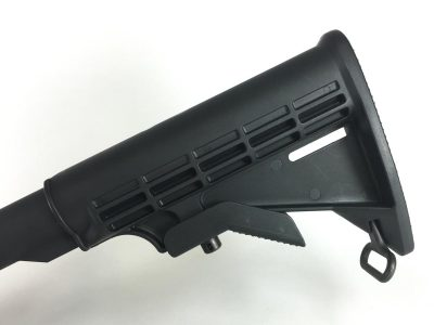The buttstock is standard six-position adjustable and mounted on a mil-spec receiver extension tube.
