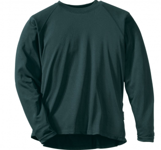 One of the author's favorites for really cold weather is Cabela's MTP Heavyweight Crew, made of a fleeced polyester that is super warm and super comfortable.