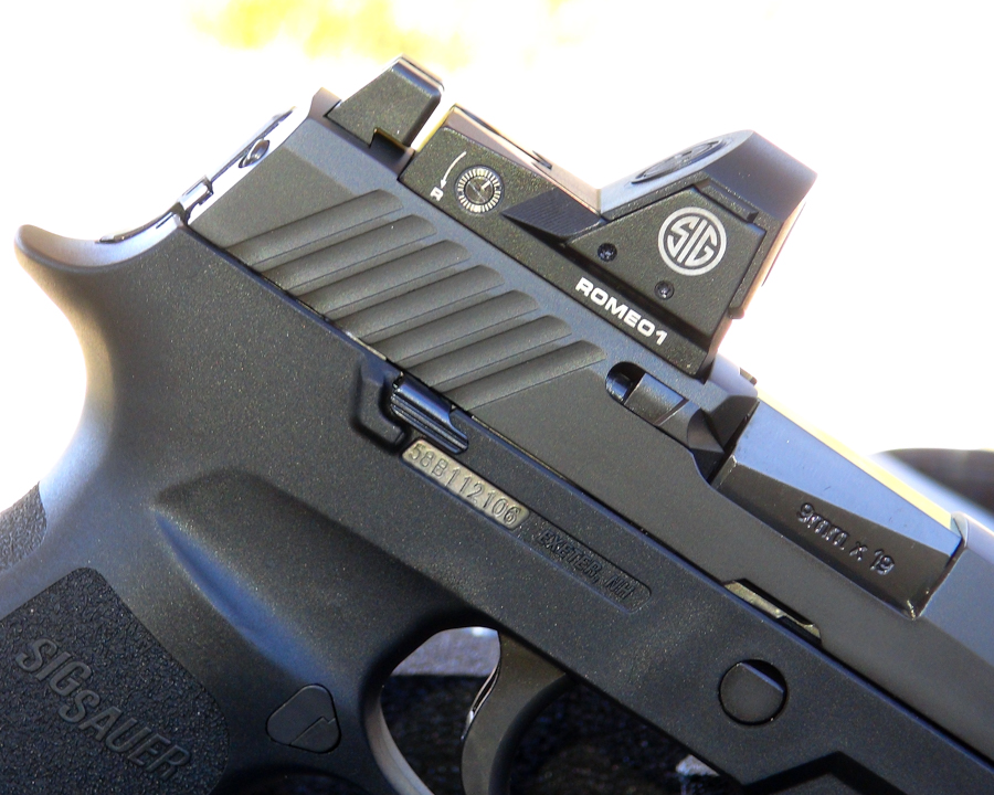 The P320 slide is milled precisely to fit the ROMEO1, providing a fit and stability that no adapter plate can match. The fit is actually dovetail style – you must slide the ROMEO1 in from the side.