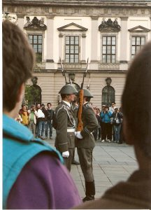 The East German SKS carbine was never imported into the U.S. Note that the photo was taken surreptitiously as communist East Germany did not allow photographs of military, police and para-military personnel and installations.
