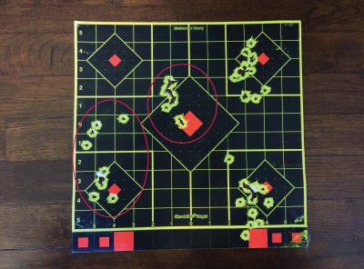 When I placed the front sight directly in the middle of the rear circle, my shots tended to hit high. (Distance: Seven yards).
