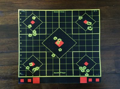 After adjusting for horizontal accuracy, I began to get more acclimated to the sights. But it was still tough to get much consistency. (Distance: Seven yards).