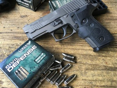 I tested the 9mm with this Sig Sauer P229 Legion.