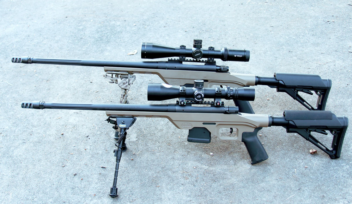 The two version of the MVP-LC are roughly comparable in size, with the 5.56 front) featuring a slightly shorter barrel and action than the 7.62 rear).
